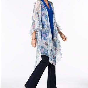 New inc woman ruffled floral kimono and cover up